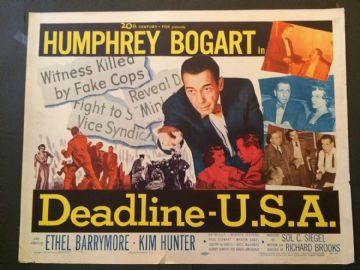Deadline USA  (1952) Film Poster Humphrey Bogart - US Half Sheet